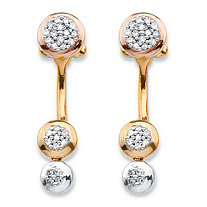 1/4 TCW Diamond Cluster Front-Back Earrings in 14k Gold-Plated and Rose Gold-Plated Sterling Silver