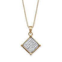 1/10 TCW Micro-Pave Diamond Square Cluster Pendant Necklace in 14k Gold over Sterling Silver 18