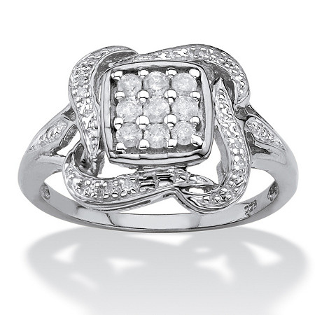 1/4 TCW Diamond Cluster Ribbon Halo Squared Ring in Platinum over Sterling Silver at PalmBeach Jewelry