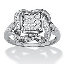 1/4 TCW Diamond Cluster Ribbon Halo Squared Ring in Platinum over Sterling Silver