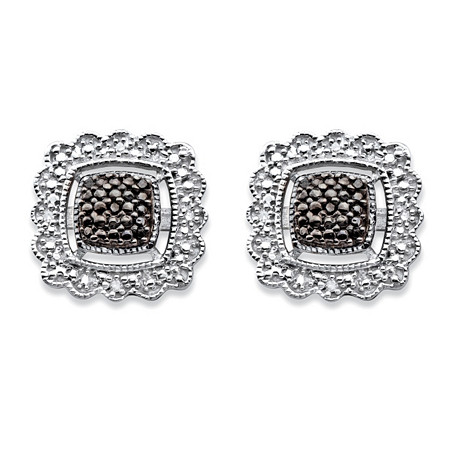 Black Diamond Accent Squared Halo-Style Stud Earrings in Sterling Silver and Black Ruthenium at PalmBeach Jewelry