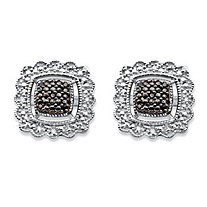 Black Diamond Accent Squared Halo-Style Stud Earrings in Sterling Silver and Black Ruthenium