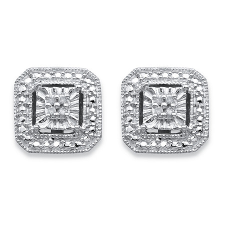 Round Diamond Accent Octagon Halo-Style Stud Earrings in Sterling Silver at PalmBeach Jewelry