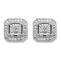 Round Diamond Accent Octagon Halo-Style Stud Earrings in Sterling Silver