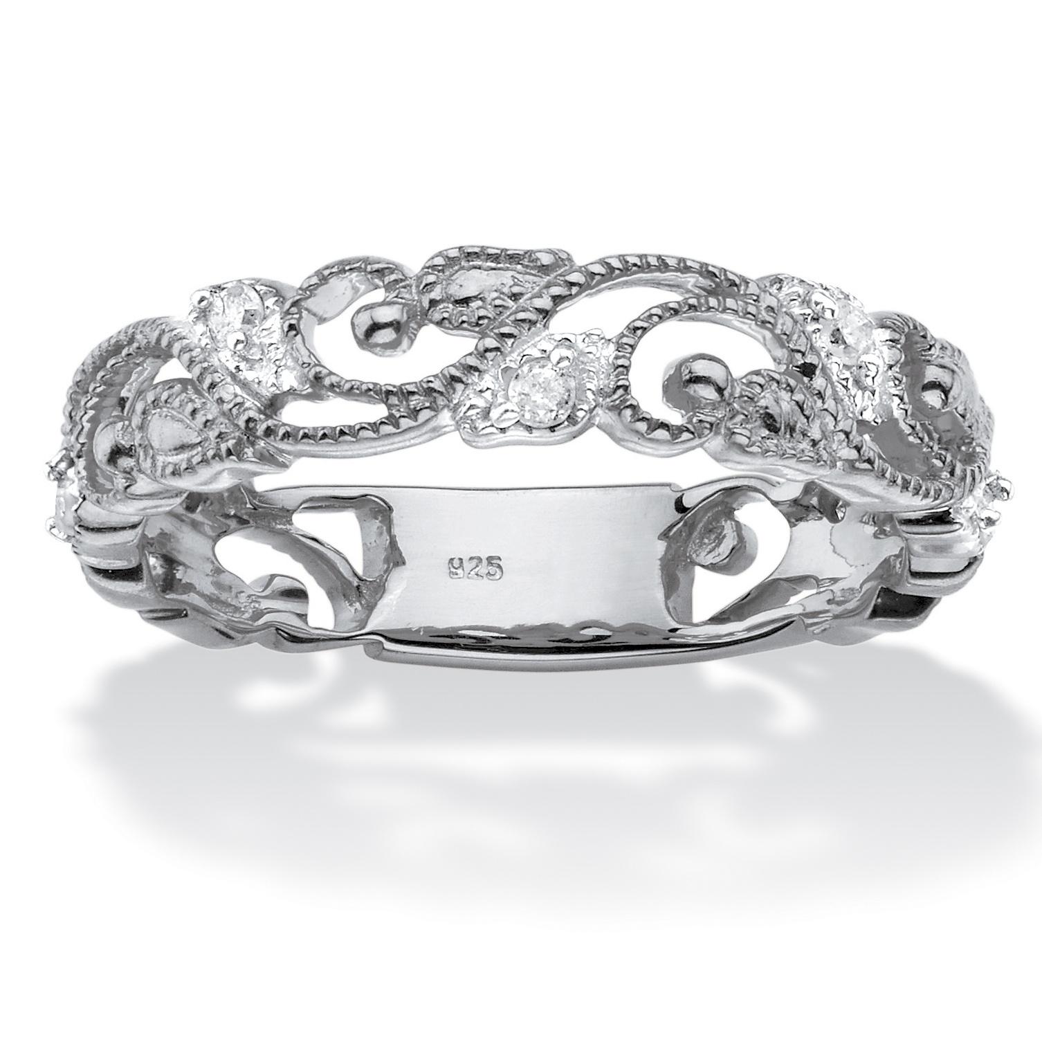 1/10 TCW Diamond Openwork Filigree Ring In Sterling Silver