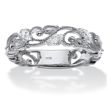1/10 TCW Diamond Openwork Filigree Ring in Sterling Silver at PalmBeach Jewelry