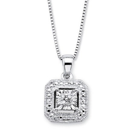 White Diamond Accent Octagon Halo-Style Pendant Necklace in Sterling Silver 18