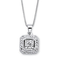 White Diamond Accent Octagon Halo-Style Pendant Necklace in Sterling Silver 18""