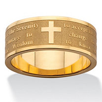 SETA JEWELRY Serenity Prayer Inscription Ring in Gold Ion-Plated Stainless Steel