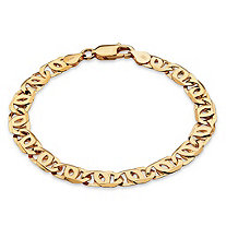 "Men's Bird's-Eye Interlocking Link Bracelet in 14k Gold over Sterling Silver 8"" (10mm)"