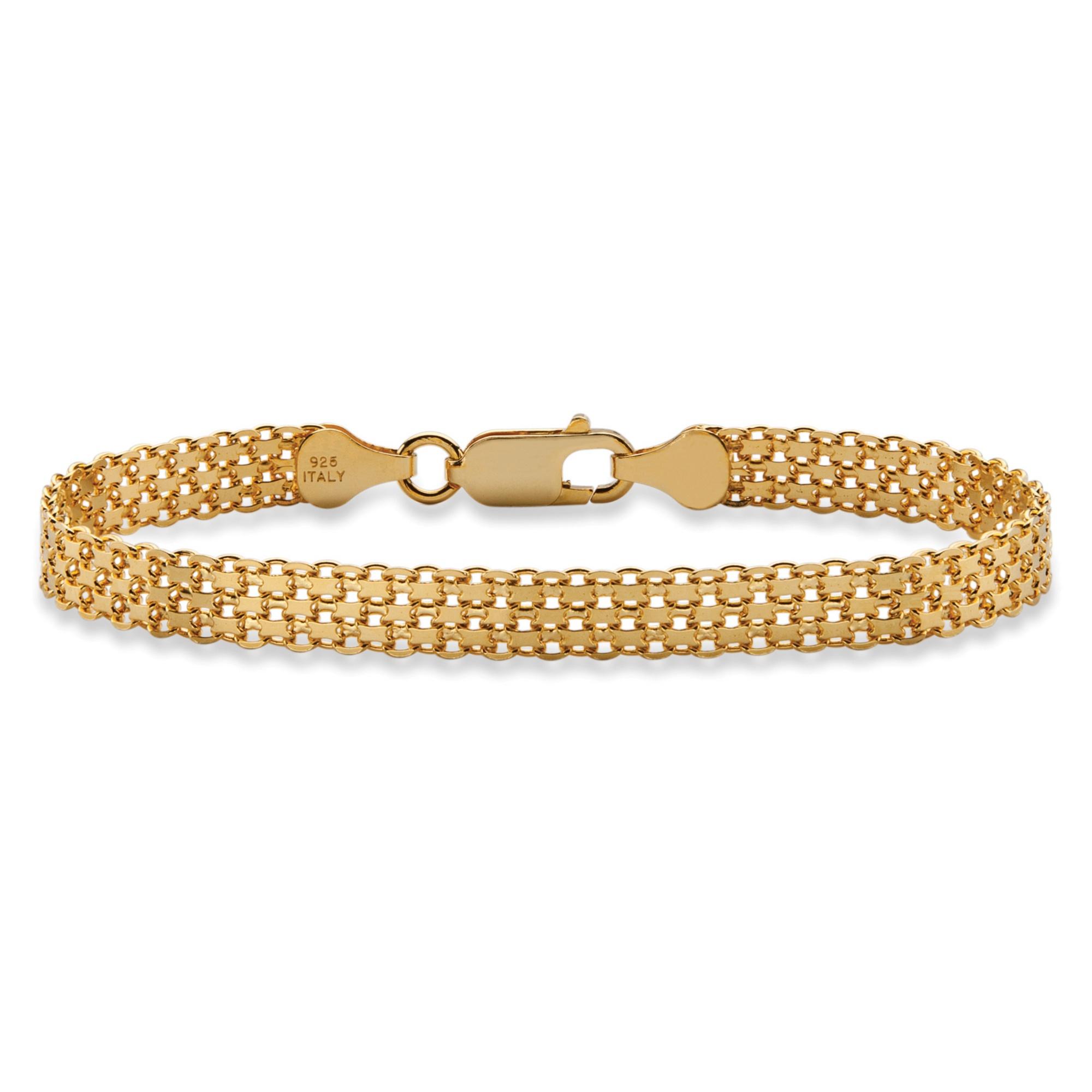 Gold And Silver Bracelets: Bismark-Link Bracelet In 14k Gold Over Sterling Silver 7