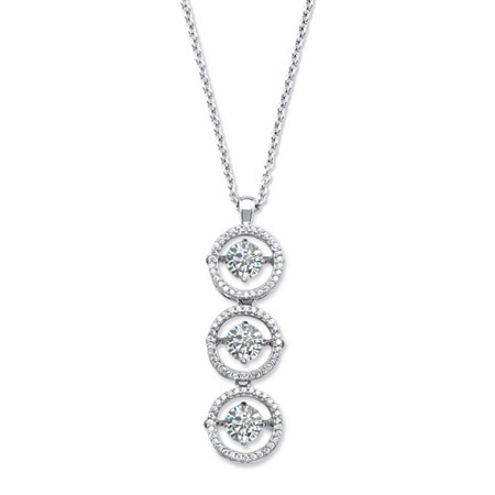 3.39 TCW CZ in Motion (TM) Triple Floating Halo Cubic Zirconia Pendant Necklace in Sterling Silver 18