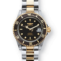 Men's Invicta Pro Diver Two-Tone Watch With Black Face in Stainless Steel 8
