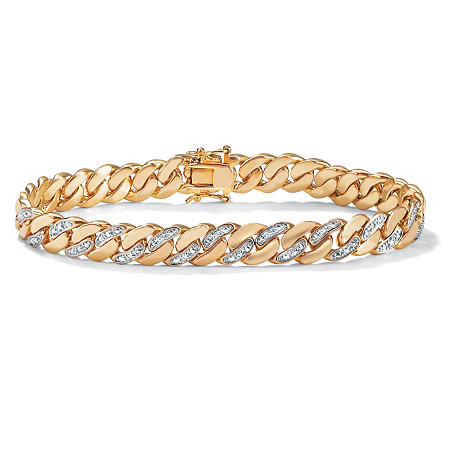 "Men's Diamond Accent Curb-Link Bracelet 18k Yellow Gold-Plated 9.5"" (9mm) at PalmBeach Jewelry"