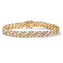 "Men's Diamond Accent Curb-Link Bracelet 18k Yellow Gold-Plated 9.5"" (9mm)"
