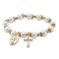 Round Simulated Pearl and Beaded Religious Stretch Bracelet in Gold Tone 7""