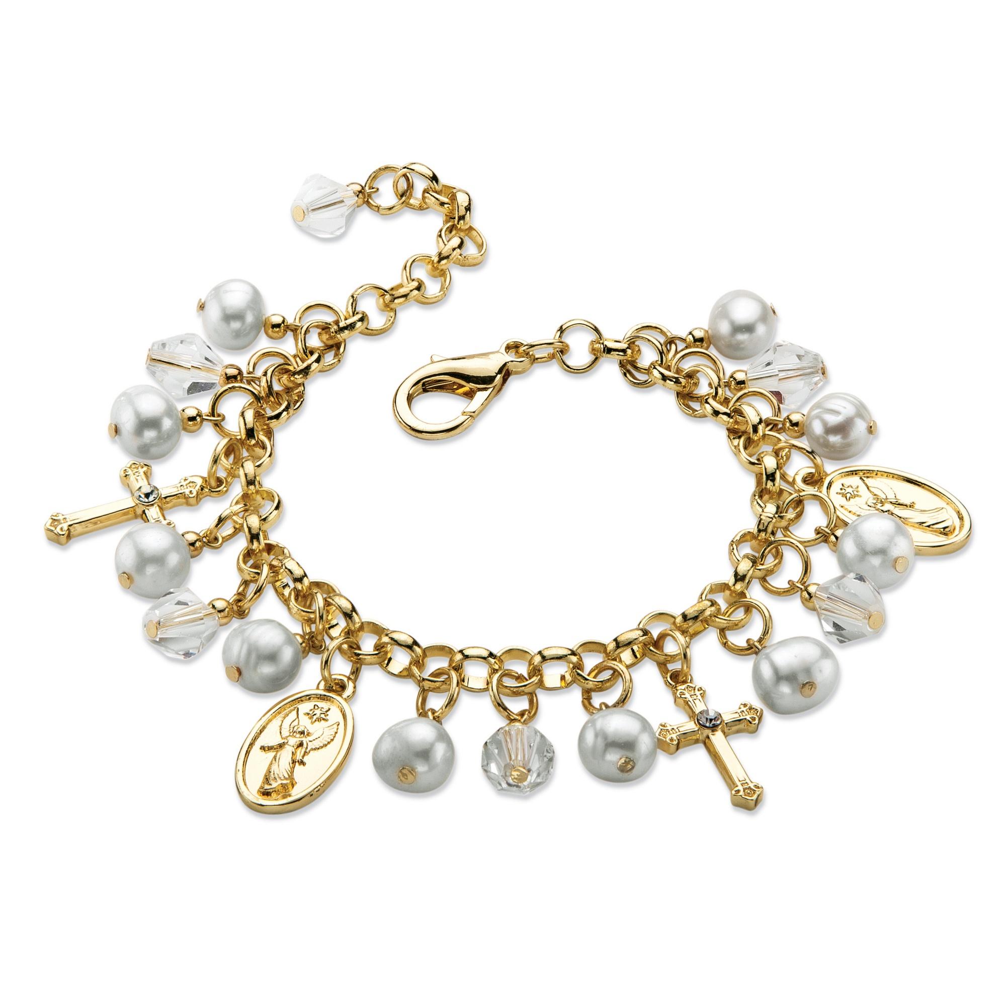 Religious Charm Bracelets: Round Simulated Pearl And Crystal Religious Charm Bracelet