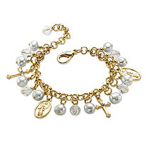 Round Simulated Pearl and Crystal Religious Charm Bracelet in Gold Tone 8""
