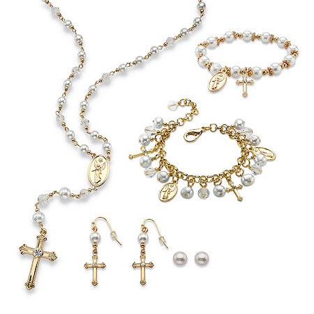 Simulated Pearl and Crystal Rosary Necklace, Earrings and Charm Bracelets Set in Gold Tone at PalmBeach Jewelry