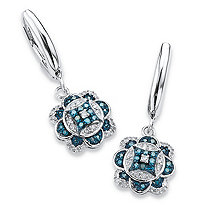 SETA JEWELRY 1/4 TCW Enhanced Blue and White Diamond Floral Motif Drop Earrings in Platinum over Sterling Silver