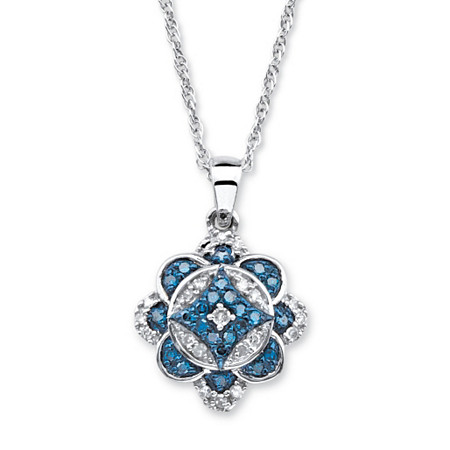 1/4 TCW Enhanced Blue and White Diamond Floral Motif Necklace in Platinum over Sterling Silver 18
