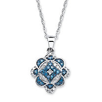 SETA JEWELRY 1/4 TCW Enhanced Blue and White Diamond Floral Motif Necklace in Platinum over Sterling Silver 18