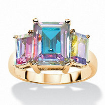 5.60 TCW Emerald-Cut Aurora Borealis Cubic Zirconia 3-Stone Ring 14k Yellow Gold-Plated