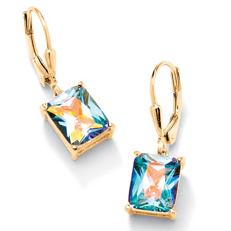 7.60 TCW Emerald-Cut Aurora Borealis Cubic Zirconia Drop Earrings 14k Yellow Gold-Plated at PalmBeach Jewelry