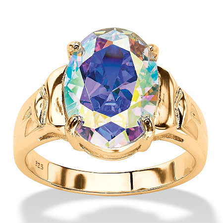 5.81 TCW Oval Aurora Borealis Cubic Zirconia Cocktail Ring 14k Gold-Plated at PalmBeach Jewelry