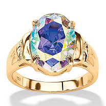 5.81 TCW Oval Aurora Borealis Cubic Zirconia Cocktail Ring 14k Gold-Plated