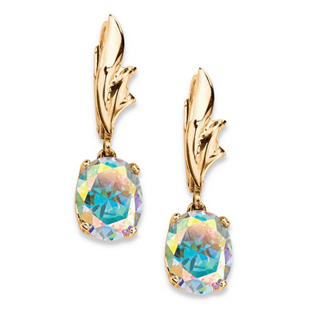 5.08 TCW Oval Aurora Borealis Cubic Zirconia Drop Earrings Yellow Gold-Plated at PalmBeach Jewelry