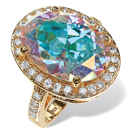 13.57 TCW Oval Aurora Borealis Cubic Zirconia Halo Cocktail Ring 14k Gold-Plated at PalmBeach Jewelry