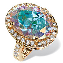 13.57 TCW Oval Aurora Borealis Cubic Zirconia Halo Cocktail Ring 14k Gold-Plated