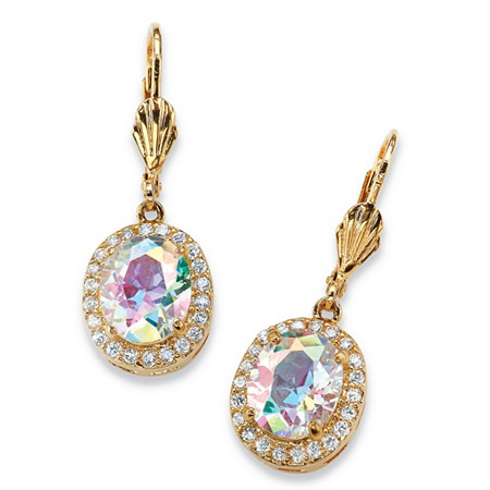 8.58 TCW Oval-Cut Aurora Borealis Cubic Zirconia Halo Drop Earrings 14k Gold-Plated at PalmBeach Jewelry
