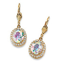 8.58 TCW Oval-Cut Aurora Borealis Cubic Zirconia Halo Drop Earrings 14k Gold-Plated