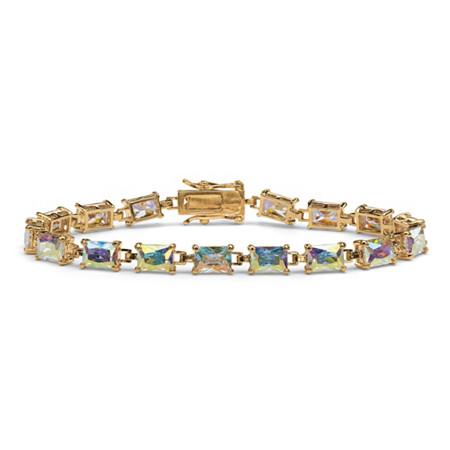 14.40 TCW Emerald-Cut Aurora Borealis Cubic Zirconia Tennis Bracelet 14k Gold-Plated 7.25
