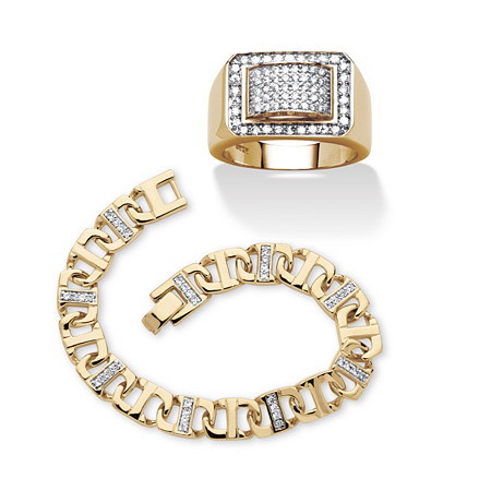 """Round Cubic Zirconia Mariner-Link Bracelet and Geometric Ring 2-Piece Set 2.24 TCW Gold-Plated, 8"""" at PalmBeach Jewelry"""