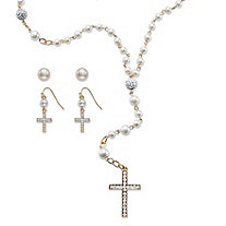 Simulated Pearl and Crystal Gold Tone Three-Piece Necklace and 2-Pair Earrings Rosary Set 21""