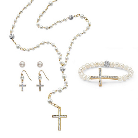 Genuine Cultured and Simulated Pearl and Crystal Four-Piece Rosary Set in Gold Tone 21