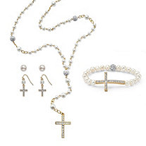 Genuine Cultured and Simulated Pearl and Crystal Four-Piece Rosary Set in Gold Tone 21""