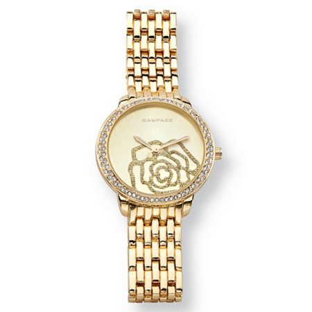 Crystal Rose Fashion Watch With Champagne Face in Gold Tone 7