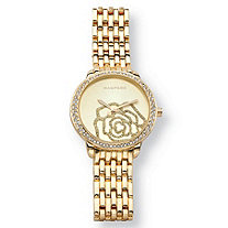Crystal Rose Fashion Watch With Champagne Face in Gold Tone 7""