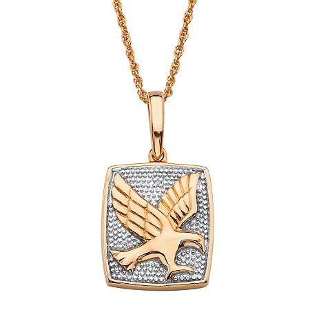 "Round Diamond Accent Two-Tone Flying Eagle Pendant Necklace in 18k Gold over Sterling Silver 20"" at PalmBeach Jewelry"