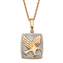 Round Diamond Accent Two-Tone Flying Eagle Pendant Necklace in 18k Gold over Sterling Silver 20