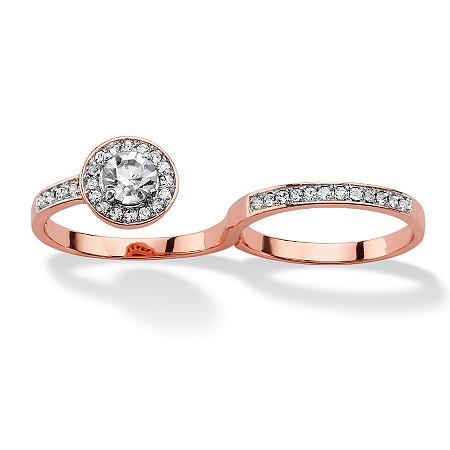 Round Pave Crystal Halo Two-Finger Ring Rose Gold-Plated at PalmBeach Jewelry
