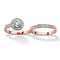 Round Pave Crystal Halo Two-Finger Ring Rose Gold-Plated