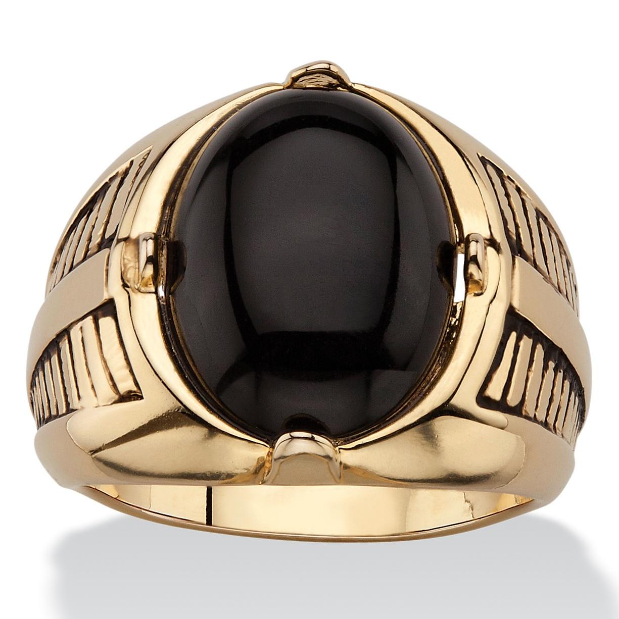 men 39 s oval genuine onyx etched cabochon ring 14k gold. Black Bedroom Furniture Sets. Home Design Ideas