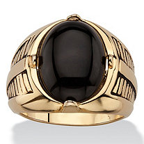 Men's Oval Genuine Onyx Etched Cabochon Ring 14k Gold-Plated