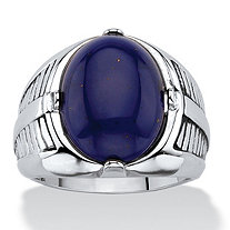 SETA JEWELRY Men's Oval-Cut Genuine Blue Lapis Etched Cabochon Ring Platinum-Plated