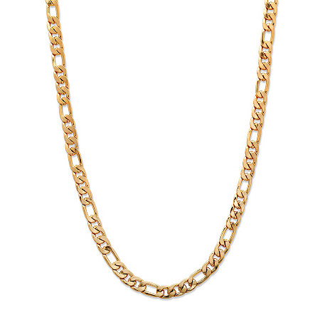 Men's Figaro-Link Gold Ion-Plated Chain Necklace 22